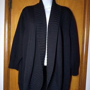 Sejour Womens Sweater Cardigan Sz 1X Black